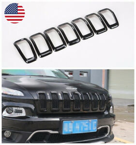 Fit 2014 2018 Jeep Cherokee Black Car Front Grille Inserts Grill Frame Trim 7pcs
