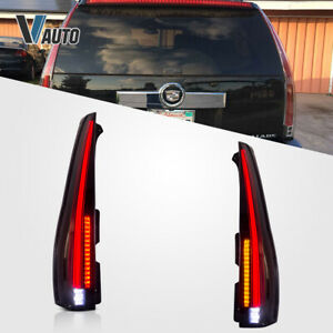For 2007 2014 Cadillac Escalade Led Tail Lights Assembly Rear Lamp Smoked Tinted