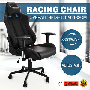 Racing Office High Back Race Car Style Bucket Seat Desk Chair Gaming Black