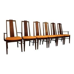 Set Of 6 Mid Century Danish Modern Brasilia Style Orange Walnut Dining Chairs 3