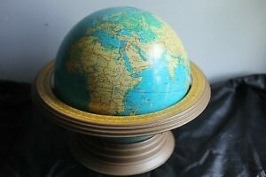 Vintage Crams 12 Physical Political Globe Aeronautical Metal Stand Air Speed