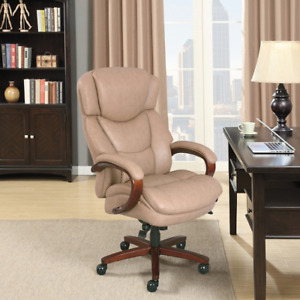 Thomasville Hudson Big Tall Leather High back Chair Taupe Free Shipping 48692