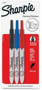 Sharpie Retractable Ultra Fine Tip Permanent Marker Black Blue Red 3pk