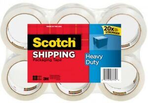 Scotch Heavy Duty Shipping And Packaging Tape 6 Pack 1 88 In X 54 6 Yd 6