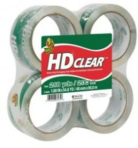 Duck Brand Clear Packaging Tape 1 88 X 54 6 Yds 4 pack