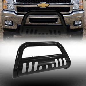 2015 2019 Gmc Canyon Black Front Bumper Bull Bar Grilles Guard With Skid Plate