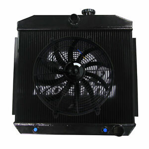 3 Row Radiator 16 Fan For Chevy Bel Air Nomad W Cooler 210 150 V8 1955 1957 1956