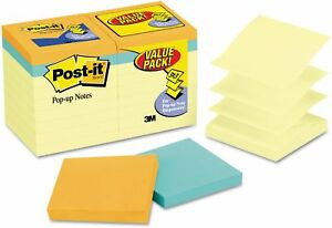 Post it Original Pop up Notes 18 Pack 3in X 3in Canary And Cape Town 18 Per