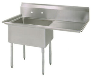Bk Resources Bks 1 18 12 18r Commercial Stainless Steel 1 compartment Sink Rdb