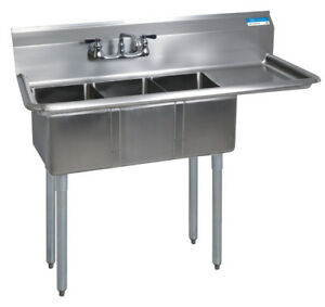 Bk Resources Bks 3 1014 10 15r Commercial Stainless Steel 3 compartment Sink Rdb