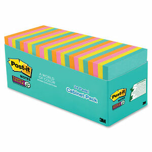 Post it Notes Super Sticky Notes Cabinet Pack 24 Pads Per Pack Miami Colors