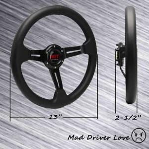 Black Spoke 13 Dia 2 5 Deep Pvc Racing Steering Wheel Universal Fit 6 Hole
