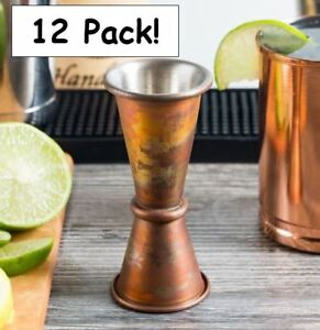 12 Pack American Metalcraft 1 Oz 1 5 Oz Japanese style Antique Copper Jigger