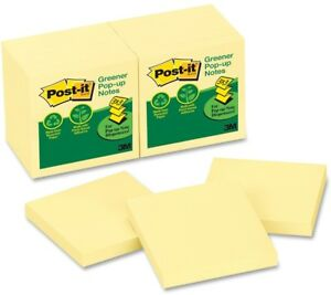 Post it Greener Pop up Notes 3 x 3 Canary Yellow Canary Yellow 12 Pack