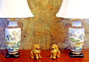 Pair Of 30 Tall Chinese Porcelain Vase Lamps Village In The Mountains