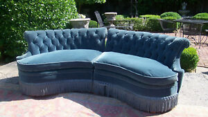 Mid Century Vintage French Two Section Curved And Tufted Sofa