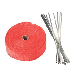 2 50ft Roll Fiberglass Exhaust Header Pipe Heat Wrap Tape Red Ties Kit