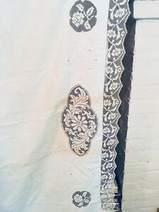 Antique Linen Fillet Lace Inset Full Size Bed Sheet White Work Embroidery