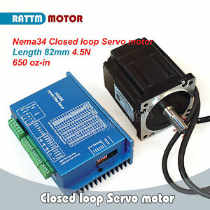 Cnc Nema34 4 5n m Closed Loop Servo Motor 82mm 2 Phase Hss86 Hybrid Servo Driver