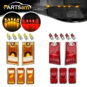 10xamber red Cover Cab Marker Roof Lights 5050 Led Bulbs For 2003 2009 Hummer H2