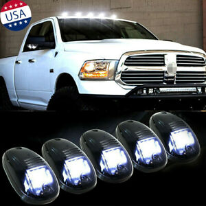 5x Black Smoked Lens White Led Cab Roof Marker Running Lights For Dodge Ram 1500