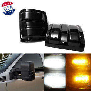 2x Smoked Lens Switchback Led Side Mirror Marker Lights For 08 up F250 F350 F450