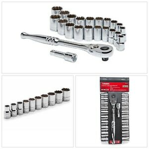 Socket Wrench Set 1 2 Inch Drive Sae Mm 22pieces Garage Workshop Hand Tool Steel