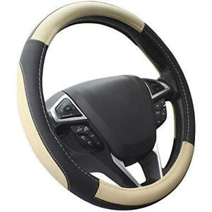Seg Direct Black And Beige Microfiber Leather Auto Car Steering Wheel Cover