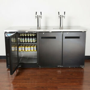 New Avantco 2 Double Tap Kegerator Beer Dispenser Black 3 1 2 Keg Capacity
