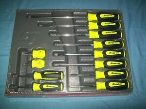 New Snap On Instinct Yellow Soft Handled 12pc Screwdriver Set Sgdx120bhv Sealed
