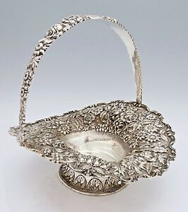 Gorgeous Stieff Rose Repousse Sterling Basket Swing Handle 39 Oz