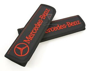 Car Seat Belt Leather Shoulder Pad Covers Mercedes benz Embroidery Red