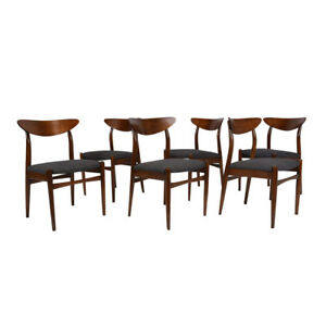 Comfortable Set Of 6 Danish Mid Century Modern Style Dining Chairs W New Fabric