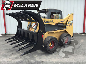 Skid Steer Heavy Duty Root Rake With Log Grapple Bucket Quick Attach Multifit