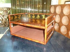 Vintage Asian Script Wood 2 Tiered Office Desk Organizer Paper Letter Tray