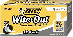 Bic Wite out Brand Quick Dry Correction Fluid 20 Ml White 12 count