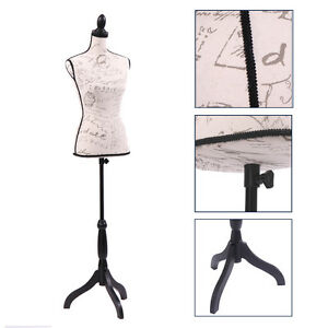 Female Mannequin Torso Clothing Dress Display W Black Tripod Stand Beige