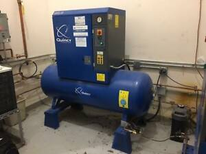 Used Quincy 15 Hp Rotary Screw Air Compressor 120 Gallon Tank 3 ph Qgs 15