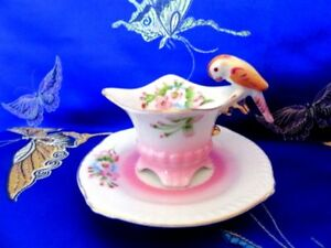 M T Miniature Parrot Bird Handle Hand Painted Japan 4 Footed Pink Cup And Saucer