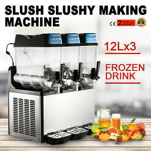 3 Tanks 36l Commercial Frozen Drink Slush Slushy Machine Orangea Ice Business