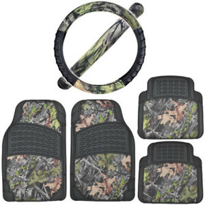 Bdk Black camo Car Floor Mats With Cushion Grip Steering Wheel Cover Camouflage