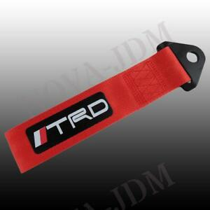 Red Jdm High Strength Trd Tow Strap Front Or Rear Bumper Towing Hook For Toyota