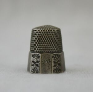 Simons Bros Vtg Sterling Silver Paneled Size 10 Thimble