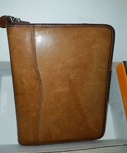 Desk classic 1 5 Ring Brown Distressed Leather Day timer Zip Planner binder