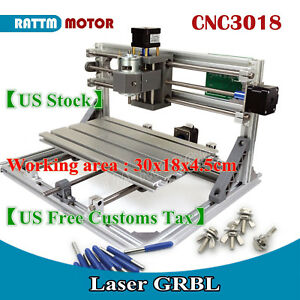 us Ship diy Cnc Router Mini 3018 Grbl Control Desktop Pcb Wood Engrave Machine