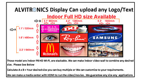 Led Sign P8 Hd Digital Display Indoor Windows 8mm Full Color Wi fi Any Size app