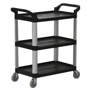 Plastic Flat Handle Deep Shelf Utility Cart 550 Lb Load Capacity Puc172733 3