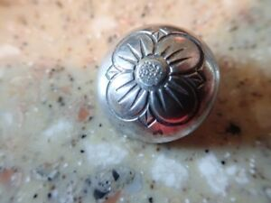 Antique Sterling Silver Victorian Picture Button Flower