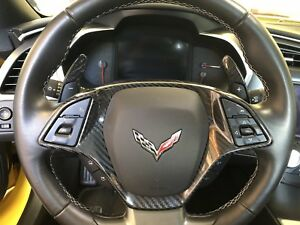 2014 2019 Corvette C7 Carbon Fiber Steering Wheel Bezel And Paddle Shifters