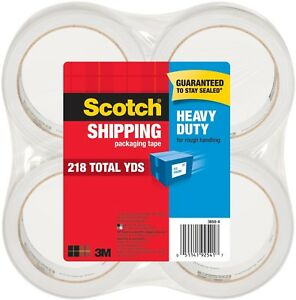Scotch Heavy Duty Shipping Packaging Tape Clear 4 Rolls pack